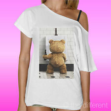 T-SHIRT DONNA COLLO BARCA BEAR ORSO TED BEER FILM IDEA REGALO ROAD TO HAPPINESS