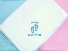 Personalised Baby Blankets Babies Gift Quality Fleece Blanket Embroidered Design