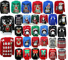 Ladies Mens Jumper Novelty Christmas Xmas Knit Reindeer Penguin Retro Sweater