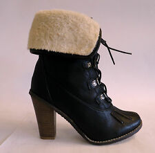 "Ladies Fur Trim Aviator Ankle Boots on 3.5"" heel SIZE 3-8 (Z30)"