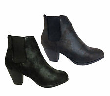 Womens LadiesTwin Gusset Heel Chesea Boot in Crazy Black & Brown SIZE 3-8 (Z75)