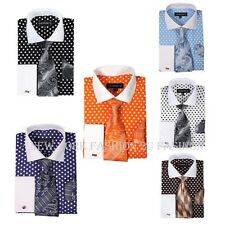 Men's George Fashion Polka Dot Design French Cuff  Dress Shirt Style AH613