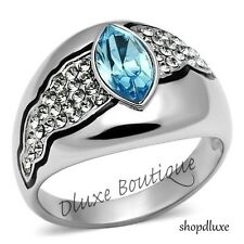 WOMEN'S AQUAMARINE & CLEAR CZ STAINLESS STEEL WIDE BAND FASHION RING SIZE 5-10
