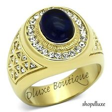 MEN'S DARK BLUE DOME STONE 14K GOLD PLATED STAINLESS STEEL RING SIZE 8-13