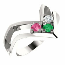 Sterling Silver Mother's Ring 1 to 7 Round Birthstones Mom's family Jewelry Gift