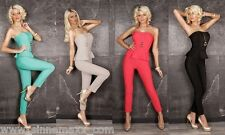 Bandeau Overall Jumpsuit mit sexy Push Up Effekt Peplum Overall Clubwear Party