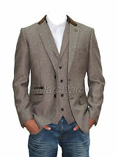 Mens Designer Brown Herringbone Tweed Winter Blazer Tan Slimfit Coat Jacket