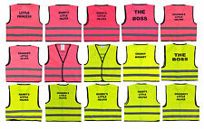 Baby Kids Hi-Vis Safety Printed Vest Waistcoats Childrens Yellow,Pink
