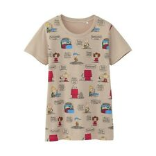 UNIQLO WOMEN PEANUTS SNOOPY Graphic Short Sleeve T-Shirt Light Natural (075296)