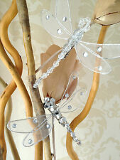 Set Of 3 Clip On Dragonfly Wedding Wishing Xmas Tree Decorations White Or Silver