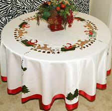 Vintage Christmas Embroidered Santa Tablecloth Round White/Ivory with Napkins