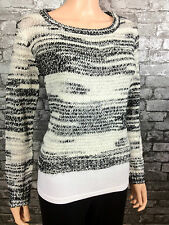 h&m WOMANS WHITE & BLACK CROPPED KNITTED JUMPER SWEATER TOP SZ 8 10 12 14 16 18