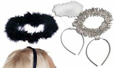 FREE SHIP Black White Feather Silver Tinsel Halos Halloween Costume Accessories!