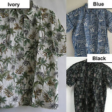 New Casual Hawaiian Aloha Cotton Shirt Bamboo Pineapple Leaf Surf Resort pocket
