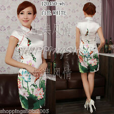 Chinese clothing qipao cheongsam gown Hand-painted lotus dress 120450 size 30-38