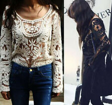 Hot Women Semi Sexy Sheer Sleeve Embroidery Floral Lace Crochet Tee Top Tshirt J