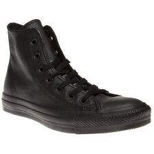 New Boys Converse Black All Star Hi Leather Trainers Top Lace Up