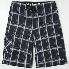 Hurley Puerto Rico Mens Recycled Polyester Black Plaid Boardshorts New NWT