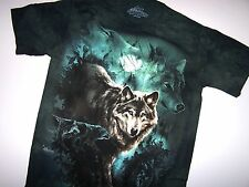 The Mountain Night Wolves Collage Adult Mountain Classic Dyed Cotton T-Shirt