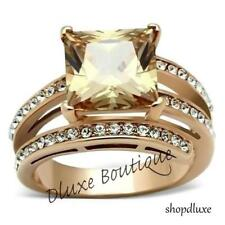 6.85 CT PRINCESS CUT CHAMPAGNE AAA CZ ROSE GOLD PLATED FASHION RING SIZE 5-10