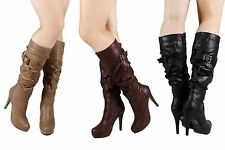 3 Color Narrow Tone Style Synthetic Leather Womens Knee High Boots Heels Shoes