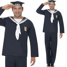 Mens 1940s Navy Fancy Dress Costume - World War 2 Naval Uniform Army Outfit