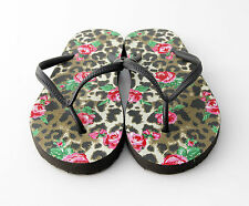 Ex Accessorize Ladies/Womens Leopard Print & Floral Flip-Flops Small 3-4