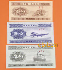 3 Pcs China 5 fen 2 fen 1 fen Banknotes Uncirculated Paper Money Collections