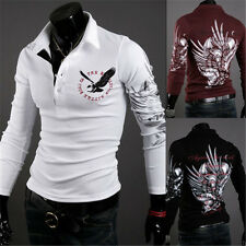 Vintage Men's Casual Trendy Slim-Fit Tattoo Graphic Printed Design Polo T-Shirts