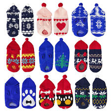 Dog Pet Jumper Hood Knitted Top Winter Coat Wool Xmas Festive Patterned T Shirt