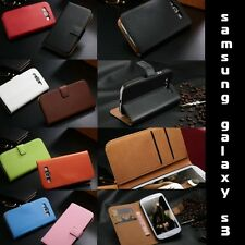 Genuine Leather Wallet Card Holder Flip Stand Case Cover Samsung Galaxy s3