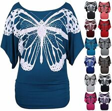 New Ladies Glitter Butterfly T-Shirt Womens Stretch Batwing Top Plus Size 16-26