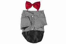 Dog Pet Tuxedo Suit Clothes Cute Collared Shirt Tapering Formal Outfit Bow Tie