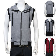 FASHION Mens Slim Casual Hoodie Waistcoat Sleeveless Coat Jacket Vest Sweatshirt