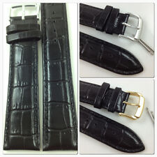 HQ BLACK 18mm 19mm ITALY GLOSSY CROC GRAIN LEATHER WATCH BAND STRAP w/CLASP