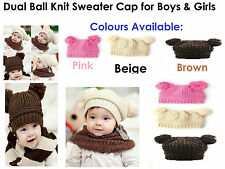 Knitted Hat Dual Ball Knit Childrens Girls/Boys 1 - 6 Years Old