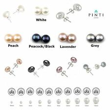 Freshwater Pearl Women Fashion Stud Earrings925 Sterling Silver-All Sizes&Colors