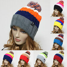 Knit POM-POM Baggy Beanie Winter Unisex Cap hat Crochet Trapper Ski Multi Colors