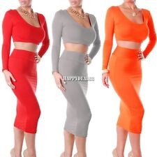 Two Piece Bodycon High Waist Top Skirt Midi Contrast Cropped Long Sleeve Dress