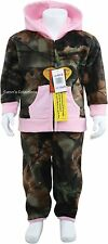 TODDLER GIRLS FLEECE HOODED JACKET & PANTS OUTFIT SET -CAMO -CAMOUFLAGE & PINK