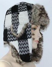 Mens Ladies Kids Winter Trapper Hats Faux Fur Quilted Inside For Warm Unisex