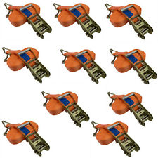 10PK Heavy Duty Rachet Ratchet Tie Down Strap Lashing 4000KG 4 Ton Double Hooks