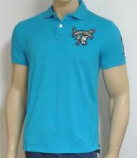 American Eagle Outfitters AEO Mens Aqua Blue Athletic Fit Polo Shirt New NWT