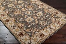 Plush Wool Classic Traditional Area Floor Rug Gray Brown Blue 4x6,5x8,8x10