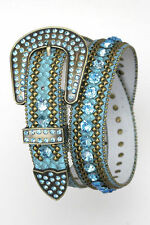Turquoise) Western Cowgirl LEATHER Snake Belt Crystal BLING Rhinestone S M L XL