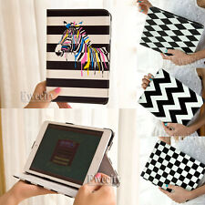 New Folio Color Zebra Grid Waves Stand Noctilucent Leather Smart Case Cover