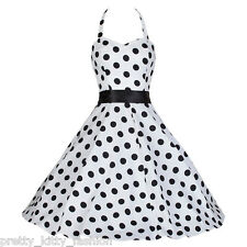 Robe Swing Pretty Kitty Rockabilly Vintage Années 40 / 50 Motif Pois Noir
