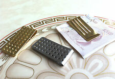 Mens Silm Money Clip -Bullet Stainless Steel Holes- Silver or Gold - Cash Wallet