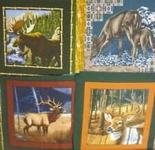 Wildlife Pillow Panel 1 TOP Fabric UPICK Deer Moose Big Game Wild frontier elk