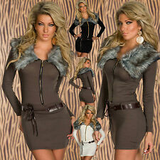 Sexy knitted MINI DRESS LONG SWEATER dress faux fur COLLARED JUMPER/TOP SZ 6,12